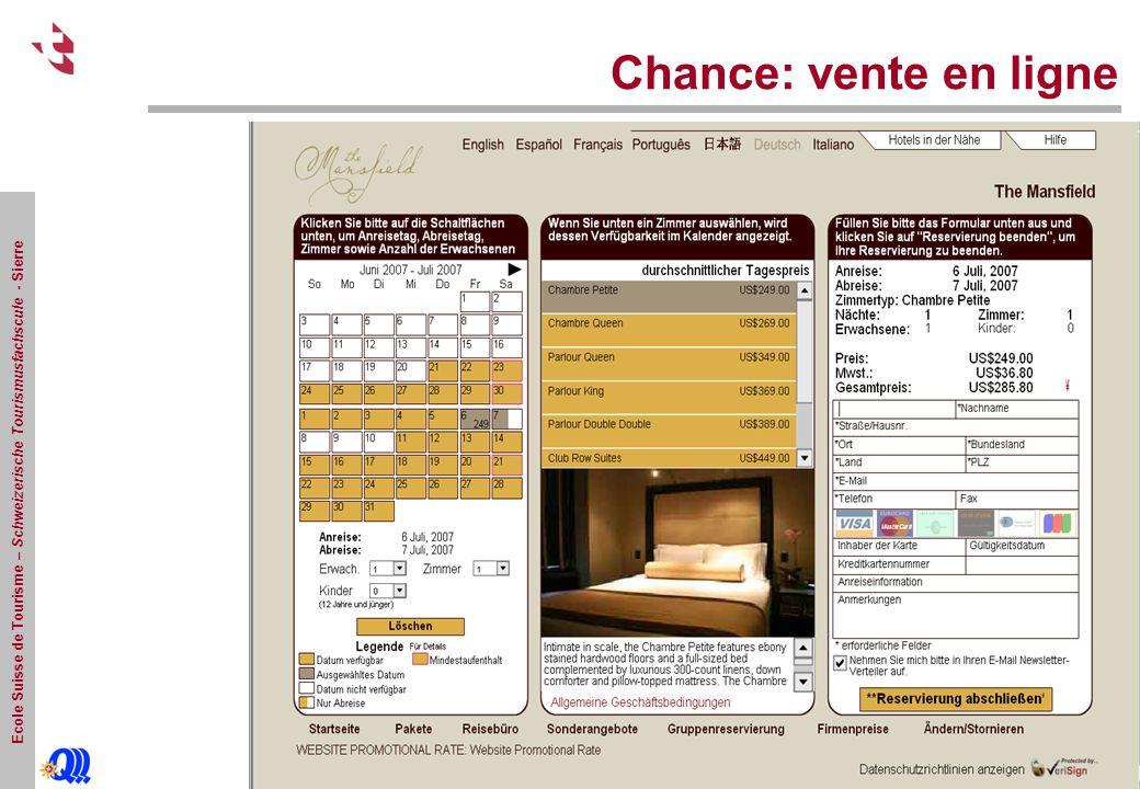 Ecole Suisse de Tourisme – Schweizerische Tourismusfachscule - Sierre Chance: vente en ligne