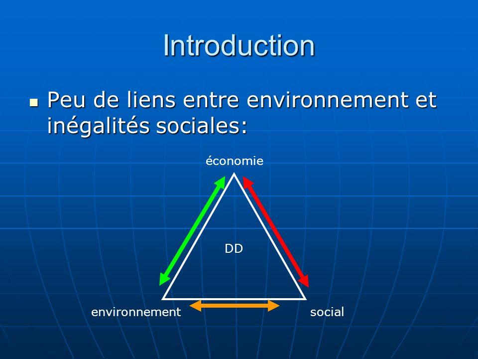 Introduction Peu de liens entre environnement et inégalités sociales: Peu de liens entre environnement et inégalités sociales: environnementsocial éco