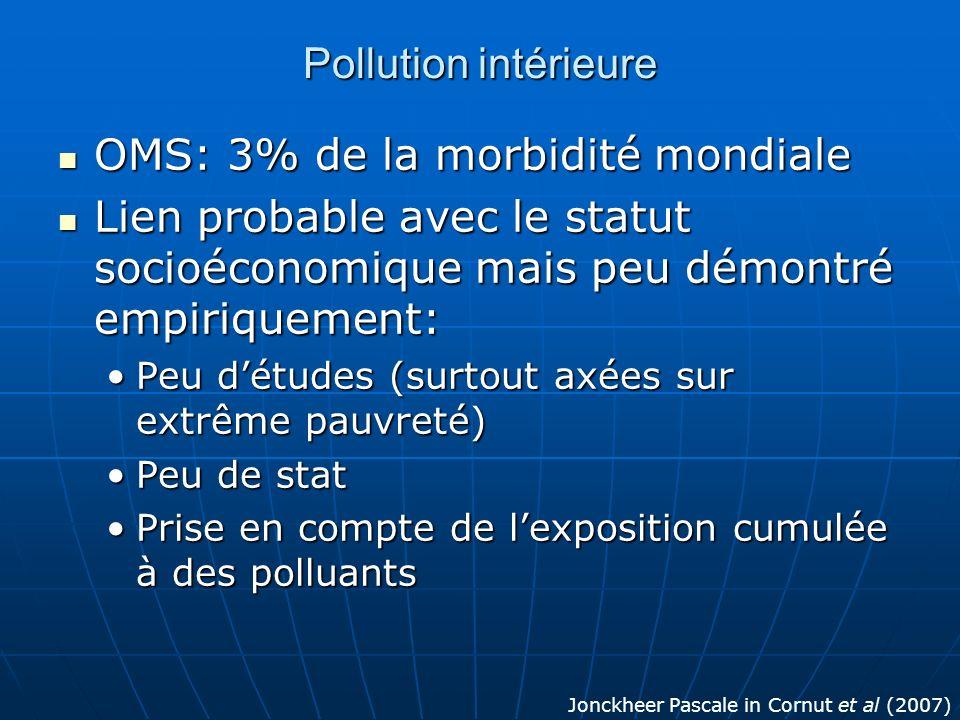 Pollution intérieure OMS: 3% de la morbidité mondiale OMS: 3% de la morbidité mondiale Lien probable avec le statut socioéconomique mais peu démontré