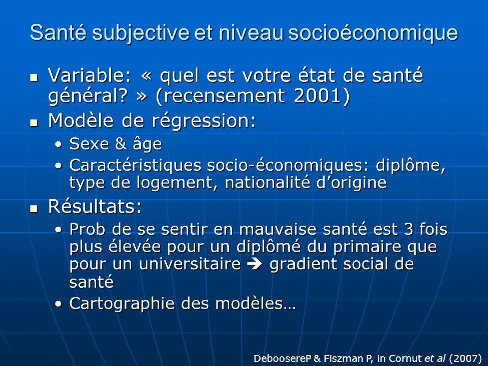 Santé subjective et niveau socioéconomique Variable: « quel est votre état de santé général? » (recensement 2001) Variable: « quel est votre état de s