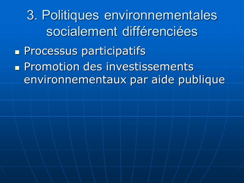 3. Politiques environnementales socialement différenciées Processus participatifs Processus participatifs Promotion des investissements environnementa