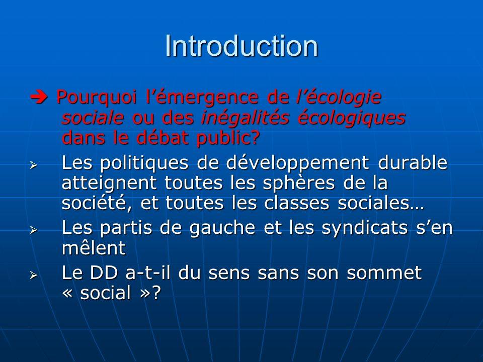 Introduction Pourquoi lémergence de lécologie sociale ou des inégalités écologiques dans le débat public? Pourquoi lémergence de lécologie sociale ou