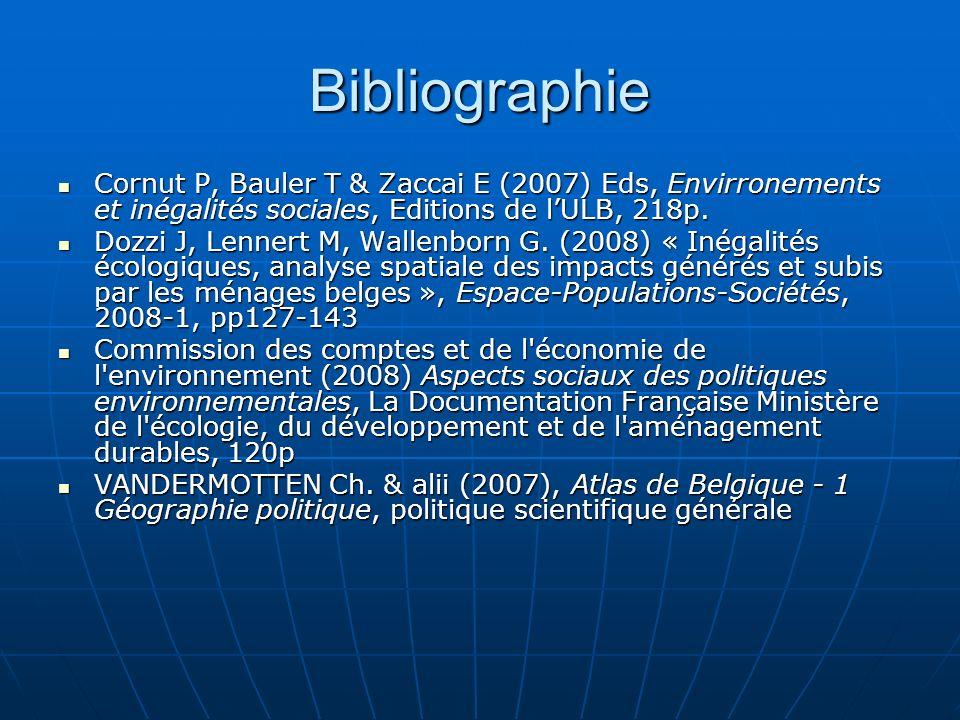 Bibliographie Cornut P, Bauler T & Zaccai E (2007) Eds, Envirronements et inégalités sociales, Editions de lULB, 218p. Cornut P, Bauler T & Zaccai E (