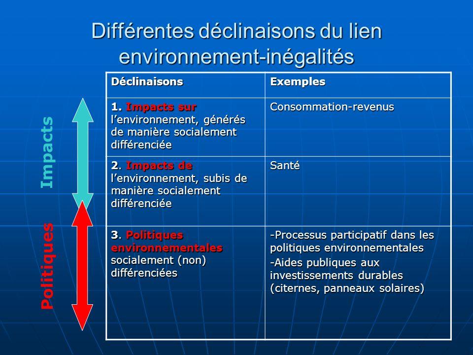 Différentes déclinaisons du lien environnement-inégalités DéclinaisonsExemples 1. Impacts sur lenvironnement, générés de manière socialement différenc