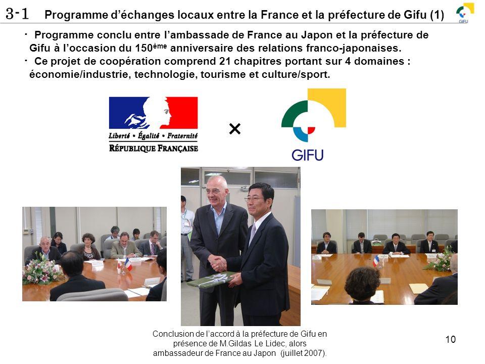 3-1 Programme déchanges locaux entre la France et la préfecture de Gifu (1) 10 Programme conclu entre lambassade de France au Japon et la préfecture d