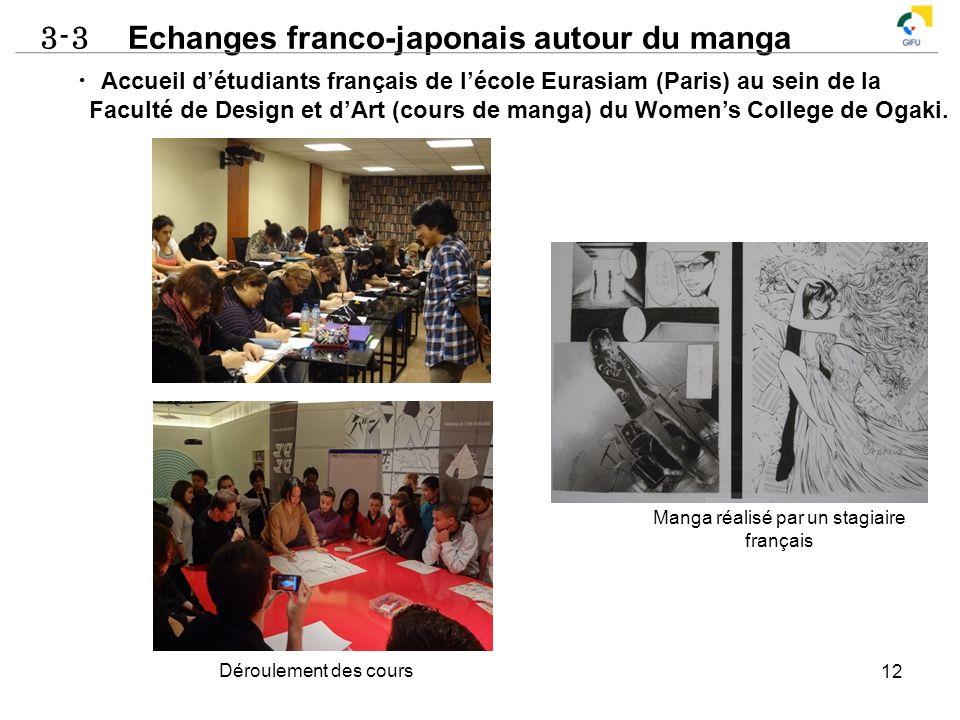 3-3 Echanges franco-japonais autour du manga 12 Accueil détudiants français de lécole Eurasiam (Paris) au sein de la Faculté de Design et dArt (cours