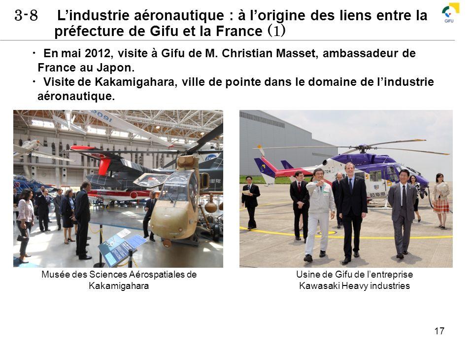 3-8 Lindustrie aéronautique : à lorigine des liens entre la préfecture de Gifu et la France (1) 17 En mai 2012, visite à Gifu de M. Christian Masset,
