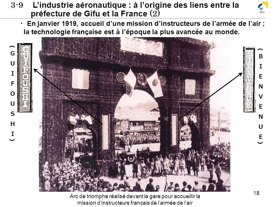 3-9 Lindustrie aéronautique : à lorigine des liens entre la préfecture de Gifu et la France (2) 18 En janvier 1919, accueil dune mission dinstructeurs