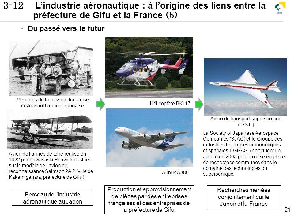 3-12 Lindustrie aéronautique : à lorigine des liens entre la préfecture de Gifu et la France (5) 21 Hélicoptère BK117 Airbus A380 Avion de larmée de t