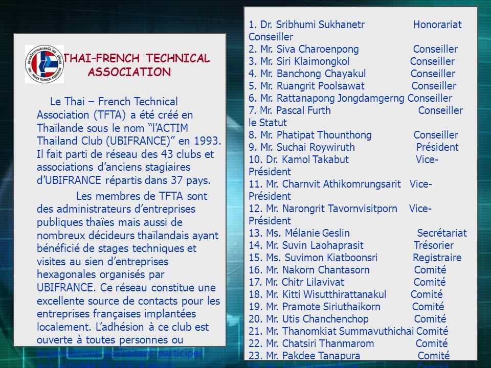 THAI–FRENCH TECHNICAL ASSOCIATION Le Thai – French Technical Association (TFTA) a été créé en Thaïlande sous le nom lACTIM Thailand Club (UBIFRANCE) e