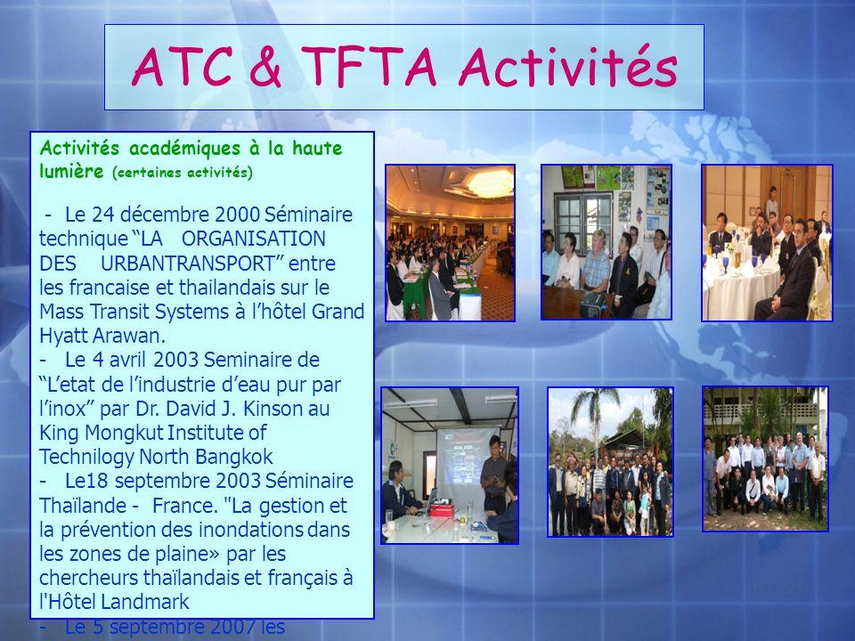 ATC & TFTA Activités Activités académiques à la haute lumière (certaines activités) - Le 24 décembre 2000 Séminaire technique LA ORGANISATION DES URBA