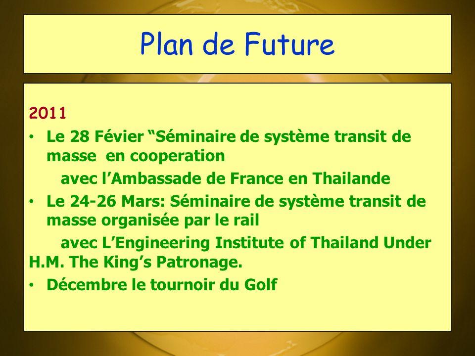 Plan de Future 2011 Le 28 Févier Séminaire de système transit de masse en cooperation avec lAmbassade de France en Thailande Le 24-26 Mars: Séminaire