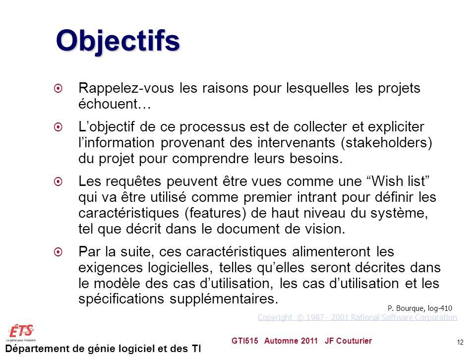 Département de génie logiciel et des TI 12 Objectifs Rappelez-vous les raisons pour lesquelles les projets échouent… Lobjectif de ce processus est de