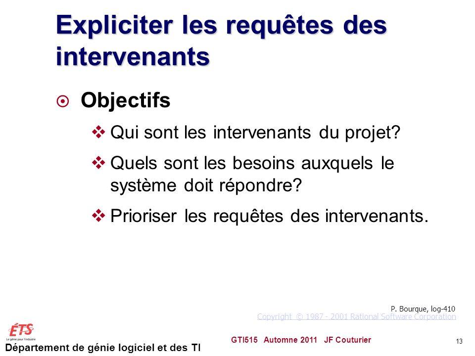 Département de génie logiciel et des TI 13 Expliciter les requêtes des intervenants Objectifs Qui sont les intervenants du projet? Quels sont les beso