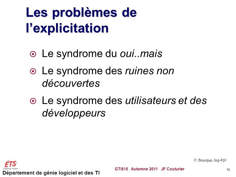 Département de génie logiciel et des TI 16 Les problèmes de lexplicitation Le syndrome du oui..mais Le syndrome des ruines non découvertes Le syndrome