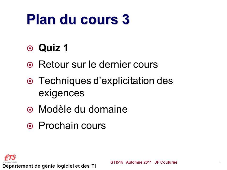 Département de génie logiciel et des TI Plan du cours 3 Quiz 1 Retour sur le dernier cours Techniques dexplicitation des exigences Modèle du domaine Prochain cours GTI515 Automne 2011 JF Couturier 3