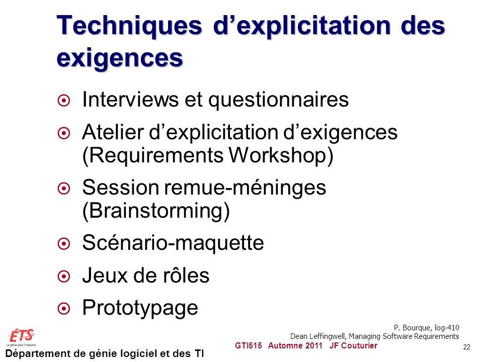 Département de génie logiciel et des TI 22 Techniques dexplicitation des exigences Interviews et questionnaires Atelier dexplicitation dexigences (Req