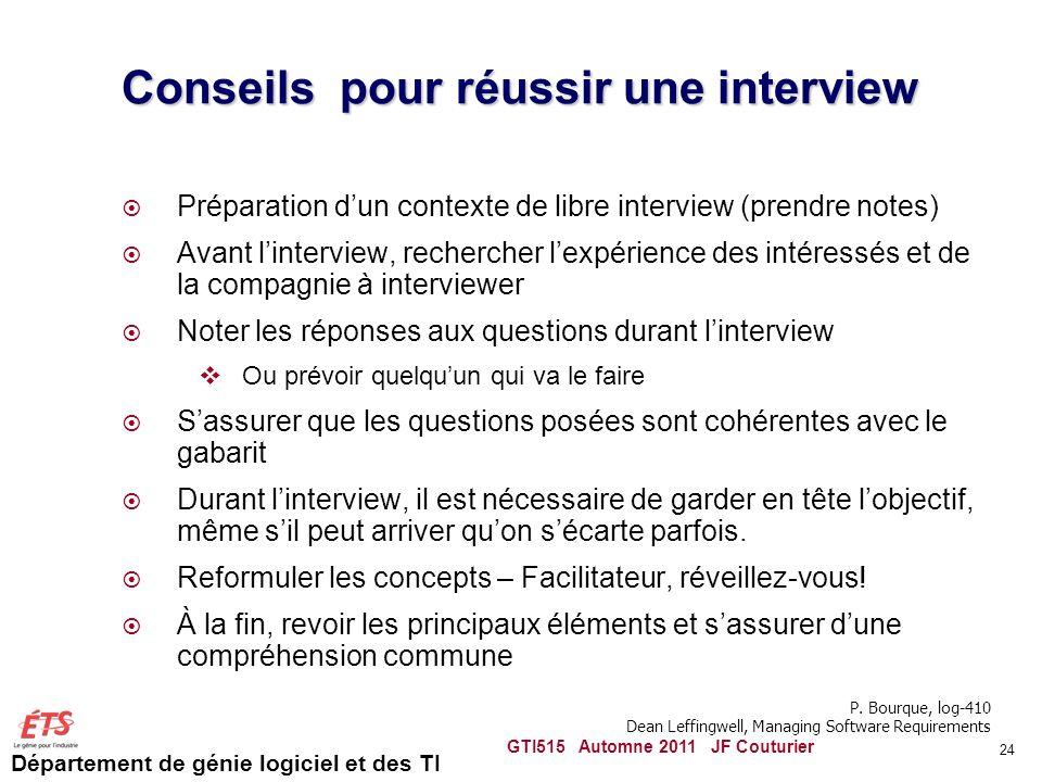 Département de génie logiciel et des TI Conseils pour réussir une interview Préparation dun contexte de libre interview (prendre notes) Avant lintervi