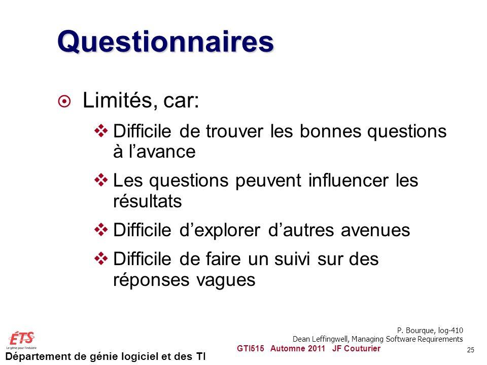 Département de génie logiciel et des TI 25 Questionnaires Limités, car: Difficile de trouver les bonnes questions à lavance Les questions peuvent infl