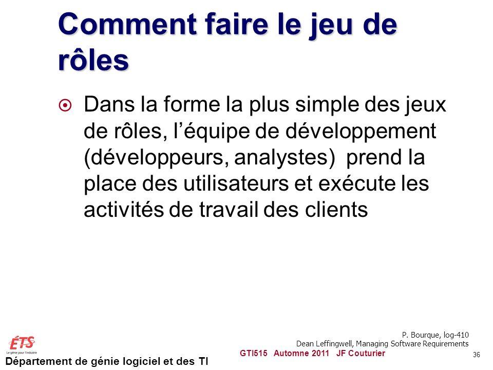 Département de génie logiciel et des TI Comment faire le jeu de rôles Dans la forme la plus simple des jeux de rôles, léquipe de développement (dévelo