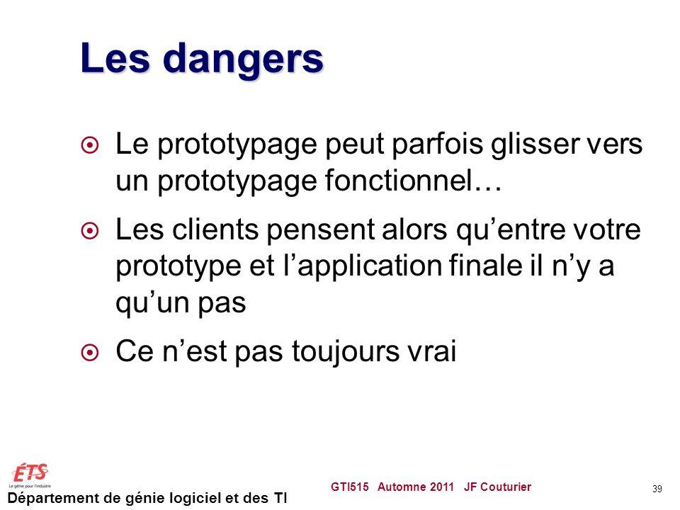 Département de génie logiciel et des TI Les dangers Le prototypage peut parfois glisser vers un prototypage fonctionnel… Les clients pensent alors que