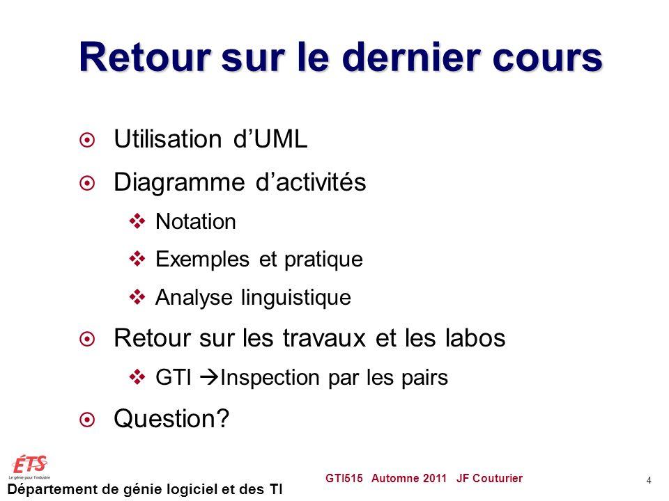 Département de génie logiciel et des TI Le modèle du domaine Lanalyse linguistique Identifier les noms dans le texte En profiter pour créer un glossaire Attributs ou classes conceptuelles.