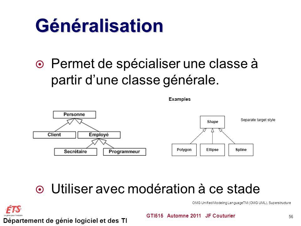 Département de génie logiciel et des TI Généralisation Permet de spécialiser une classe à partir dune classe générale. Utiliser avec modération à ce s