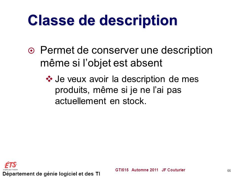 Département de génie logiciel et des TI Classe de description Permet de conserver une description même si lobjet est absent Je veux avoir la descripti