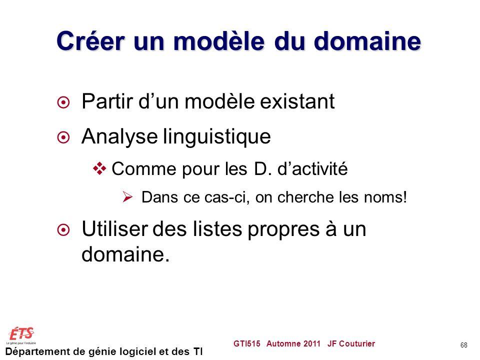 Département de génie logiciel et des TI Créer un modèle du domaine Partir dun modèle existant Analyse linguistique Comme pour les D. dactivité Dans ce