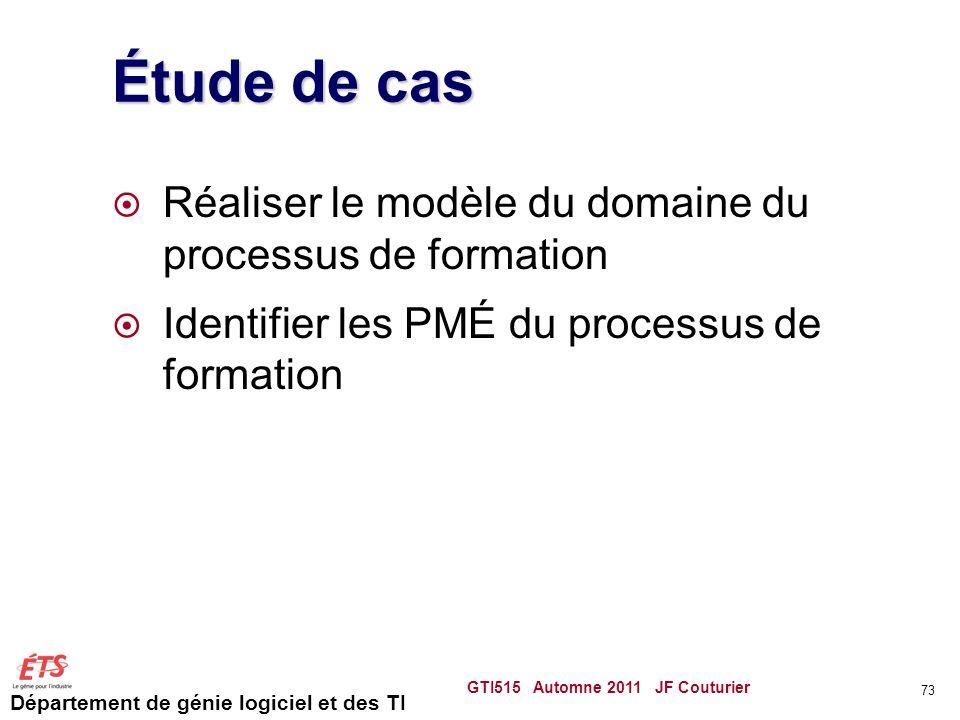 Département de génie logiciel et des TI Étude de cas Réaliser le modèle du domaine du processus de formation Identifier les PMÉ du processus de format