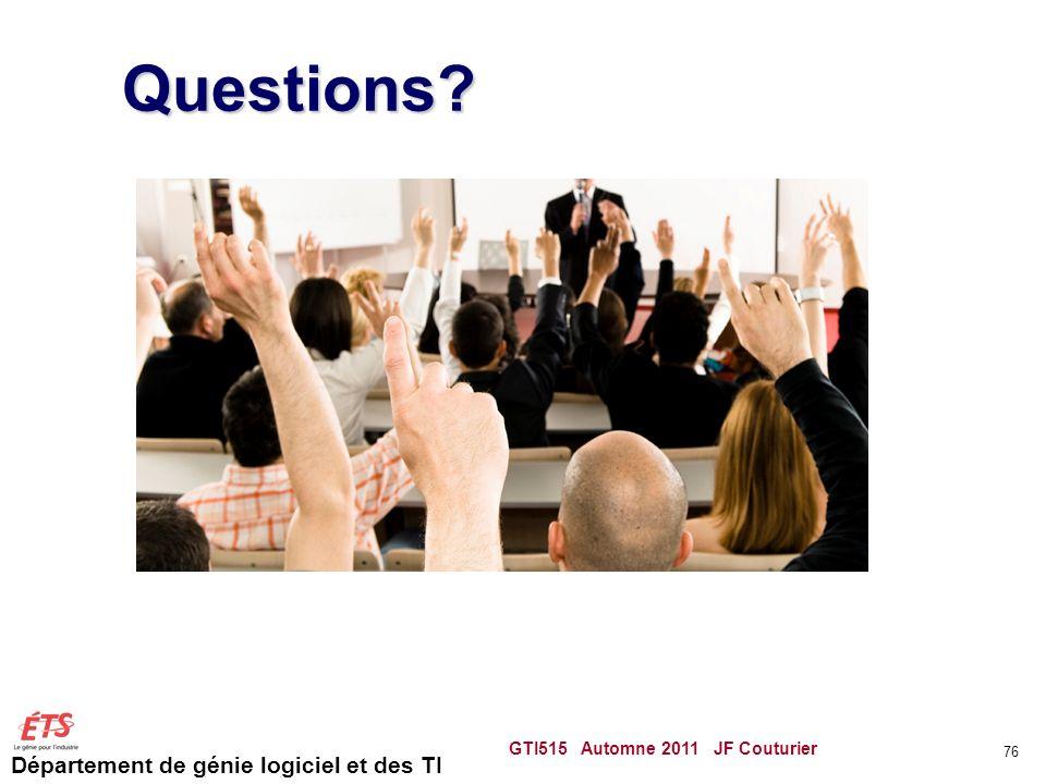 Département de génie logiciel et des TI GTI515 Automne 2011 JF Couturier 76 Questions?