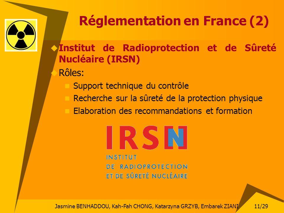 11/29 Jasmine BENHADDOU, Kah-Fah CHONG, Katarzyna GRZYB, Embarek ZIANI Réglementation en France (2) Institut de Radioprotection et de Sûreté Nucléaire