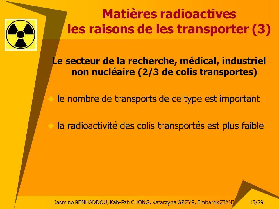 Jasmine BENHADDOU, Kah-Fah CHONG, Katarzyna GRZYB, Embarek ZIANI 15/29 Matières radioactives les raisons de les transporter (3) Le secteur de la reche