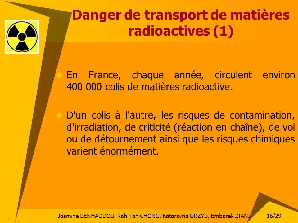 Jasmine BENHADDOU, Kah-Fah CHONG, Katarzyna GRZYB, Embarek ZIANI 16/29 Danger de transport de matières radioactives (1) En France, chaque année, circu