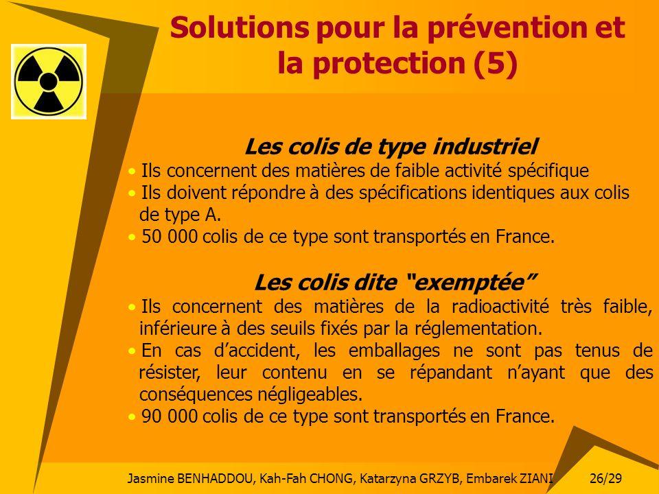 Jasmine BENHADDOU, Kah-Fah CHONG, Katarzyna GRZYB, Embarek ZIANI 26/29 Solutions pour la prévention et la protection (5) Les colis de type industriel