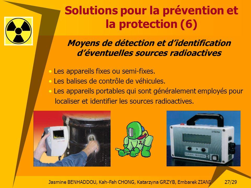 Jasmine BENHADDOU, Kah-Fah CHONG, Katarzyna GRZYB, Embarek ZIANI 27/29 Solutions pour la prévention et la protection (6) Moyens de détection et dident