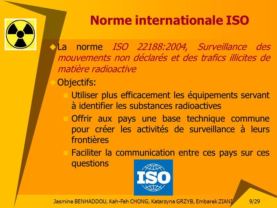 9/29 Jasmine BENHADDOU, Kah-Fah CHONG, Katarzyna GRZYB, Embarek ZIANI Norme internationale ISO La norme ISO 22188:2004, Surveillance des mouvements no