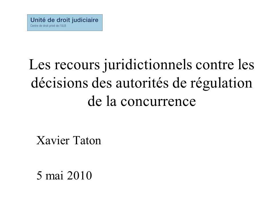 Les recours juridictionnels contre les décisions des autorités de régulation de la concurrence Xavier Taton 5 mai 2010