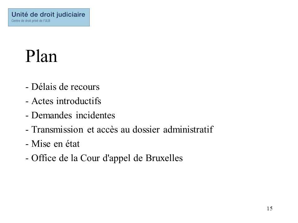 15 Plan - Délais de recours - Actes introductifs - Demandes incidentes - Transmission et accès au dossier administratif - Mise en état - Office de la