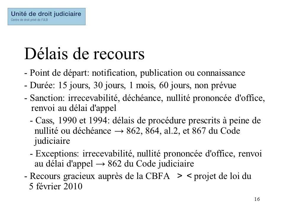 16 Délais de recours - Point de départ: notification, publication ou connaissance - Durée: 15 jours, 30 jours, 1 mois, 60 jours, non prévue - Sanction