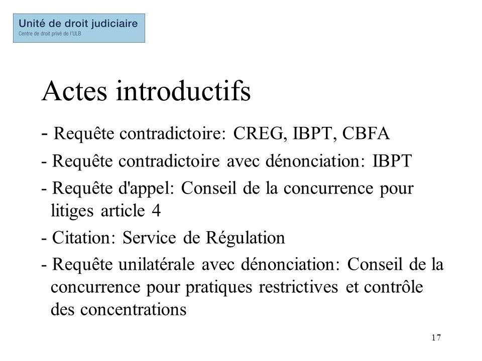 17 Actes introductifs - Requête contradictoire: CREG, IBPT, CBFA - Requête contradictoire avec dénonciation: IBPT - Requête d'appel: Conseil de la con