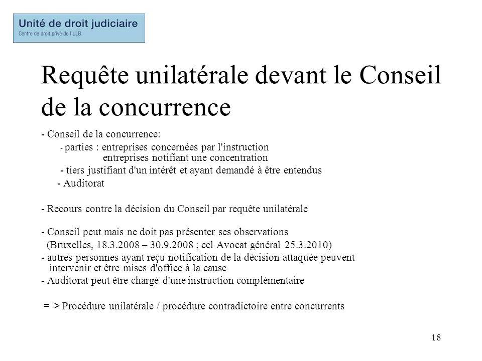 18 Requête unilatérale devant le Conseil de la concurrence - Conseil de la concurrence: - parties : entreprises concernées par l'instruction entrepris