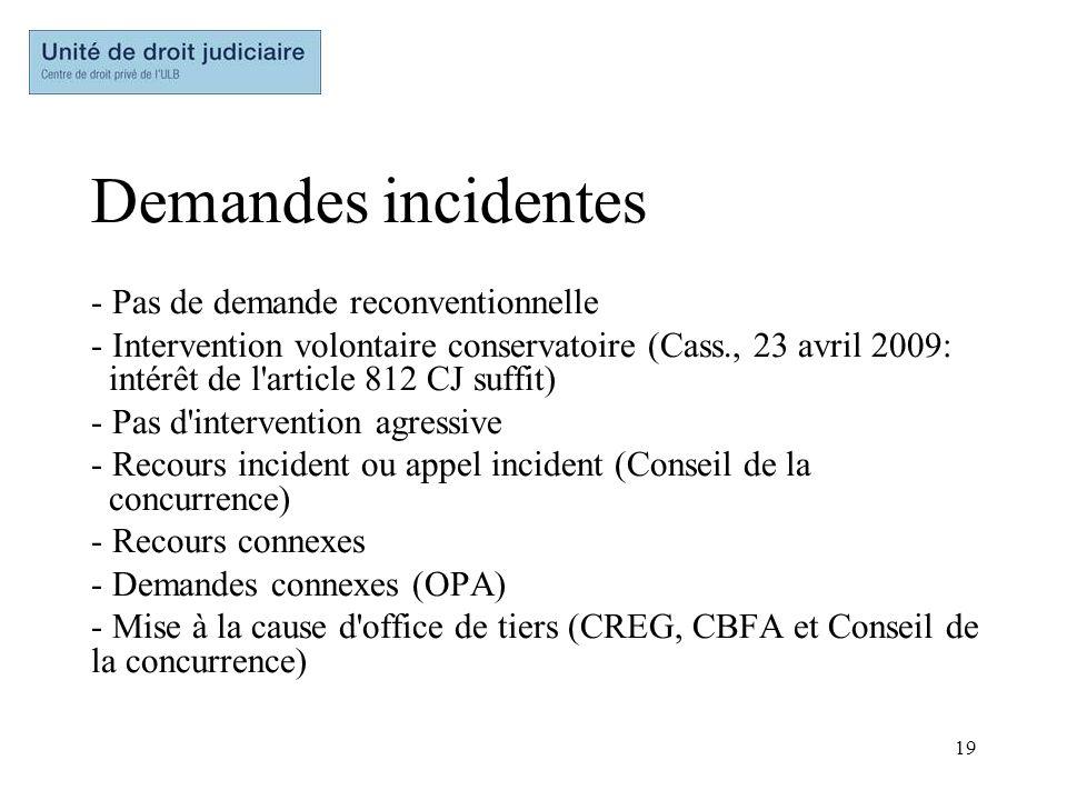 19 Demandes incidentes - Pas de demande reconventionnelle - Intervention volontaire conservatoire (Cass., 23 avril 2009: intérêt de l'article 812 CJ s