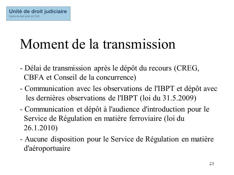 23 Moment de la transmission - Délai de transmission après le dépôt du recours (CREG, CBFA et Conseil de la concurrence) - Communication avec les obse