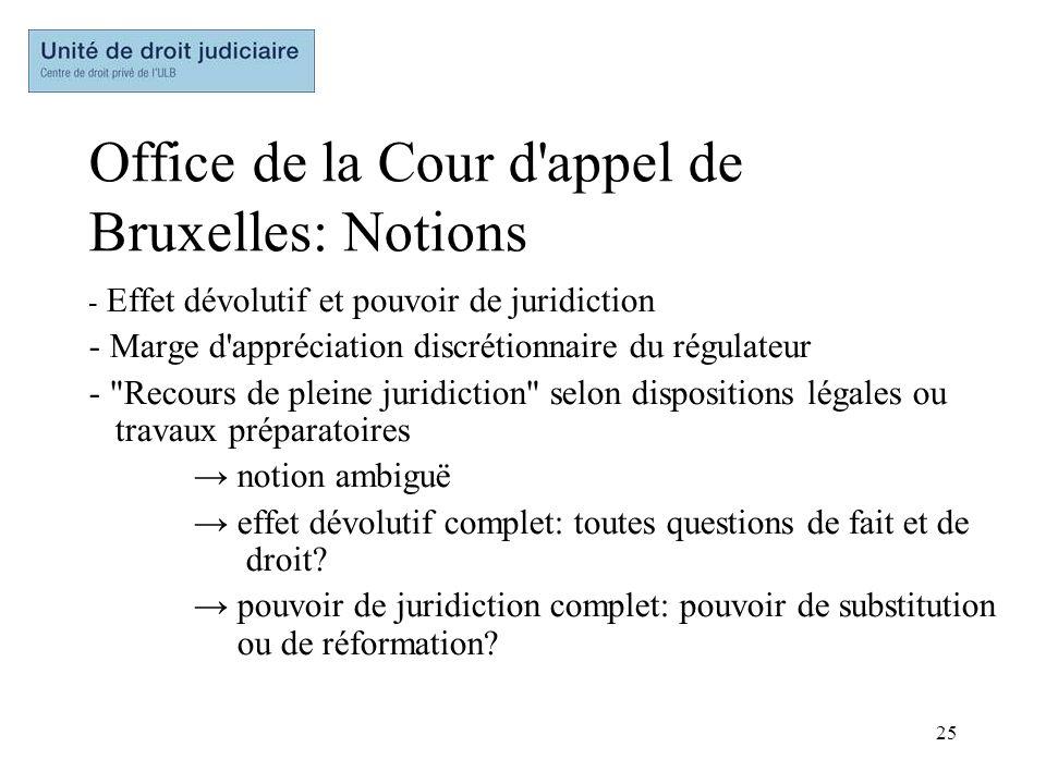 25 Office de la Cour d'appel de Bruxelles: Notions - Effet dévolutif et pouvoir de juridiction - Marge d'appréciation discrétionnaire du régulateur -