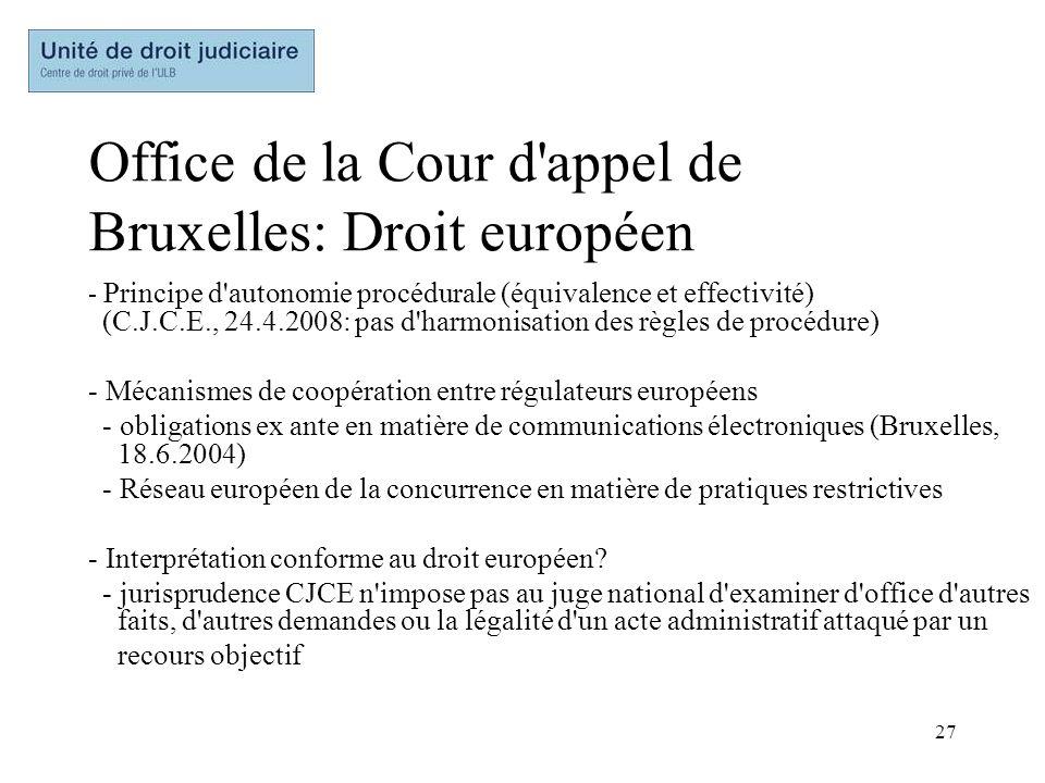 27 Office de la Cour d'appel de Bruxelles: Droit européen - Principe d'autonomie procédurale (équivalence et effectivité) (C.J.C.E., 24.4.2008: pas d'