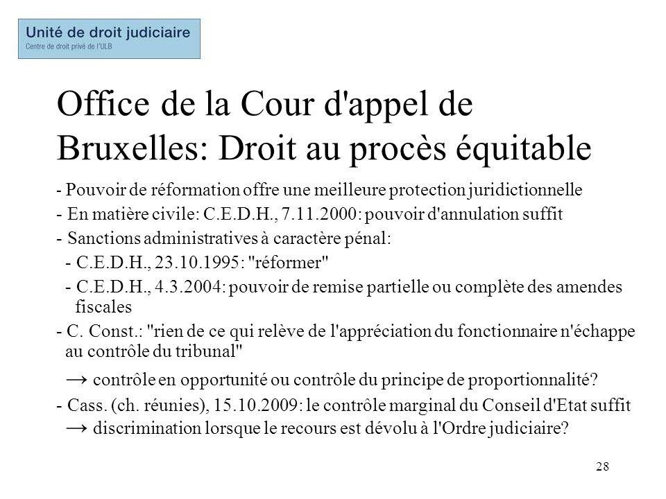 28 Office de la Cour d'appel de Bruxelles: Droit au procès équitable - Pouvoir de réformation offre une meilleure protection juridictionnelle - En mat