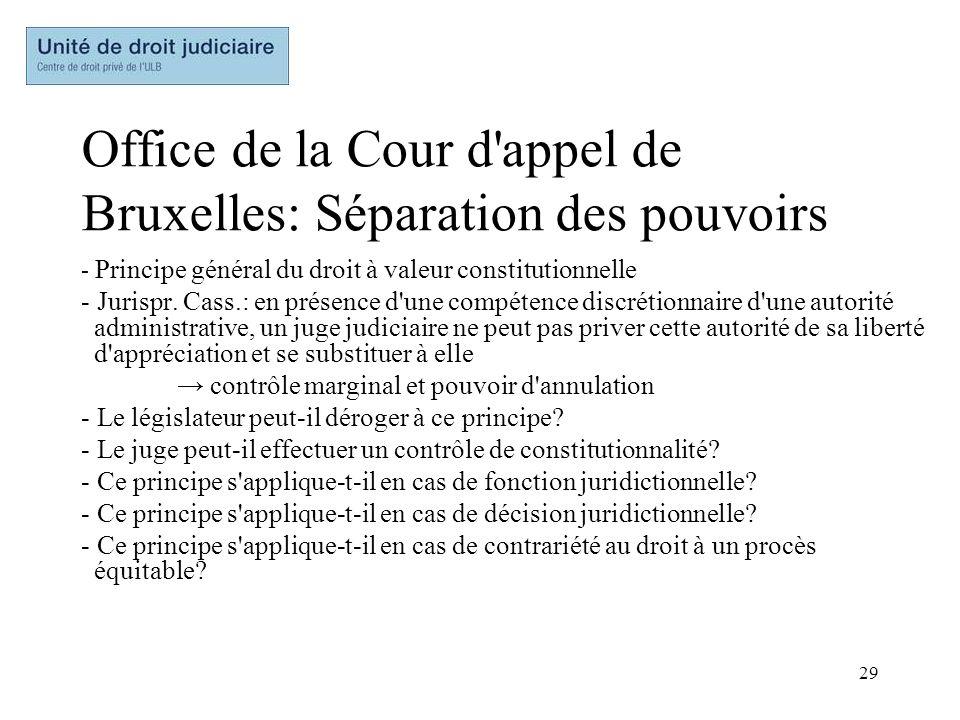 29 Office de la Cour d'appel de Bruxelles: Séparation des pouvoirs - Principe général du droit à valeur constitutionnelle - Jurispr. Cass.: en présenc
