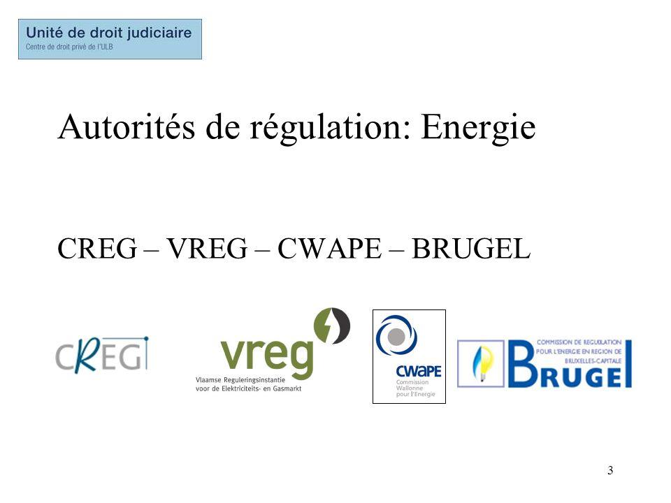 3 Autorités de régulation: Energie CREG – VREG – CWAPE – BRUGEL