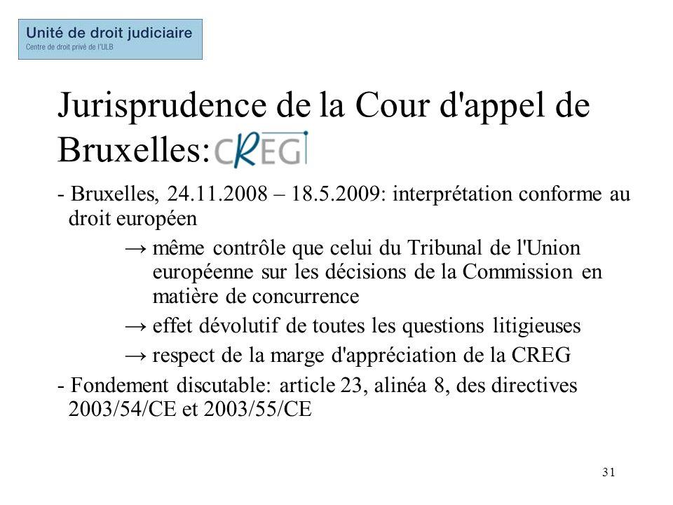 31 Jurisprudence de la Cour d'appel de Bruxelles: - Bruxelles, 24.11.2008 – 18.5.2009: interprétation conforme au droit européen même contrôle que cel